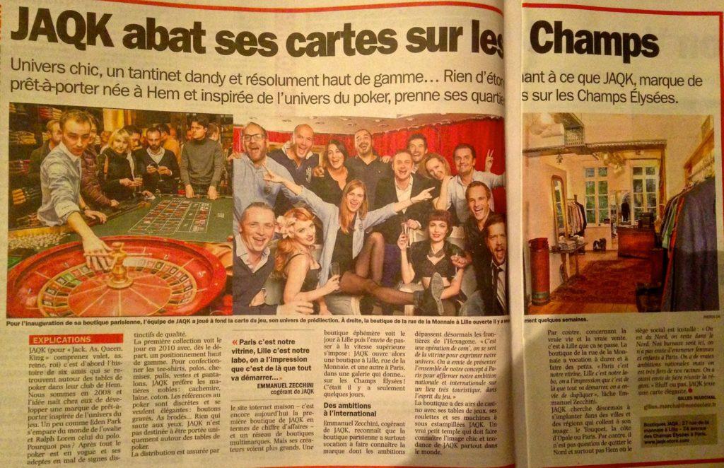 Article dans la Voix du Nord sur ouverture boutique Paris
